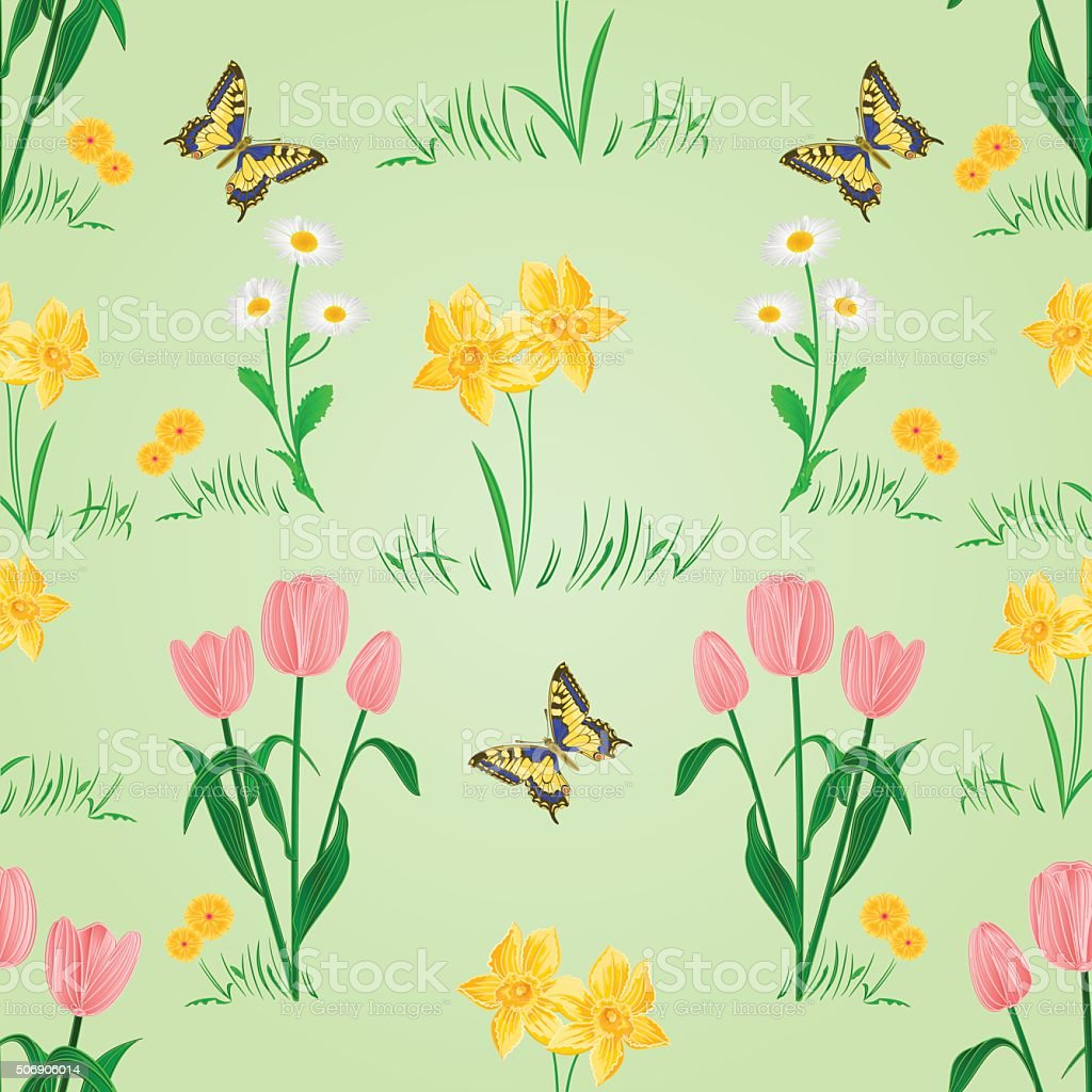 Seamless texture spring flowers with butterfly vector stok vektr seamless texture spring flowers with butterfly vector royalty free stok vektr sanat mightylinksfo