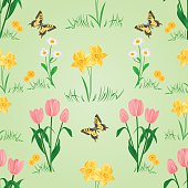 Seamless texture spring flowers with butterfly vector