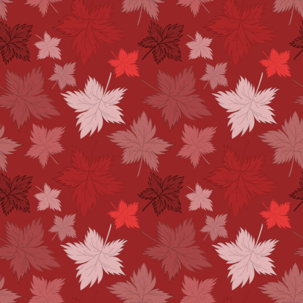 Bекторная иллюстрация Seamless texture, square, pattern - autumn waltz. Falling leaves of different sizes. A five-leaf. Maple leaf. Figure for the background of the site or blog, textiles, packaging, wallpaper. Vector