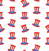 Seamless Texture Uncle Sam's Top Hat for American Holidays