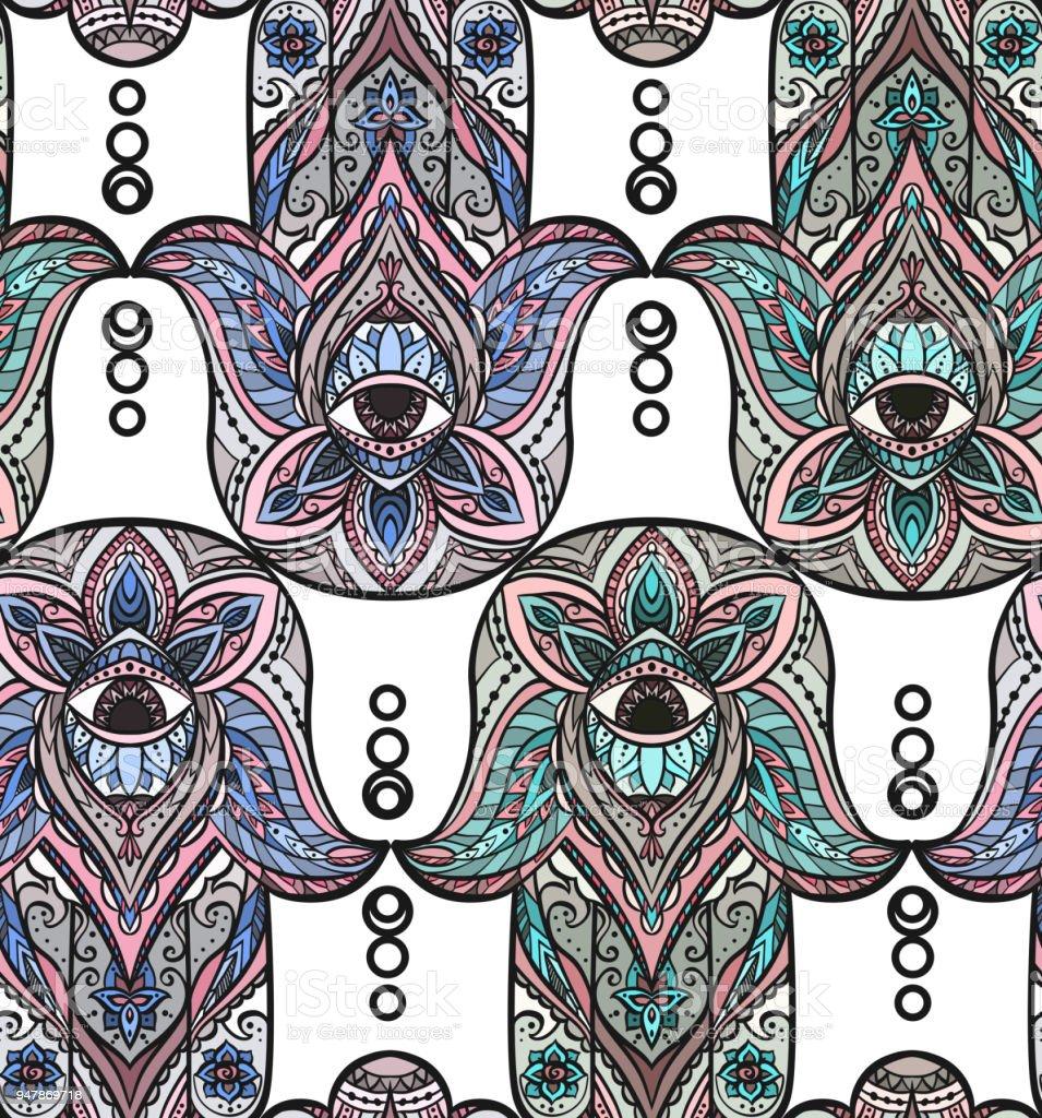 nahtlose textur mit einem hamsa und boho muster auf weiem hintergrund lizenzfreies nahtlose textur mit - Boho Muster