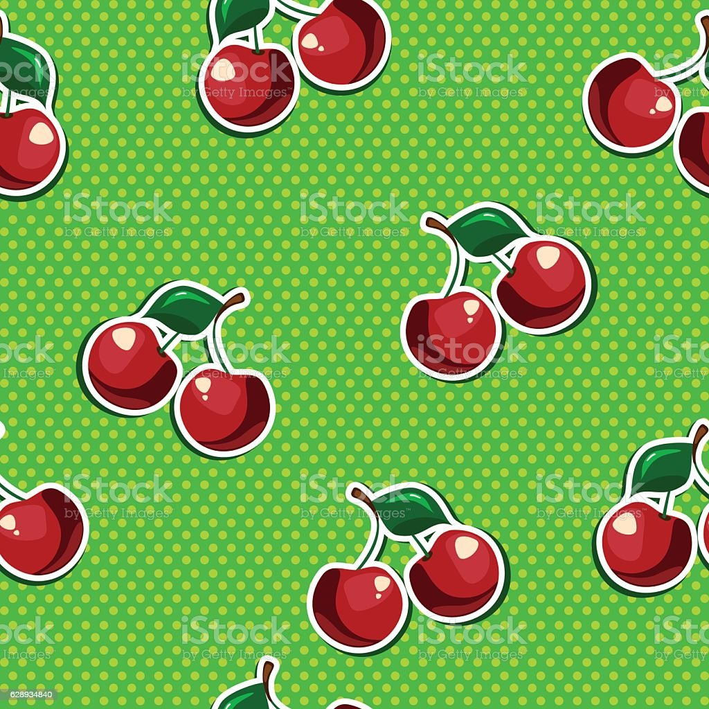 Seamless texture with cherry vector art illustration