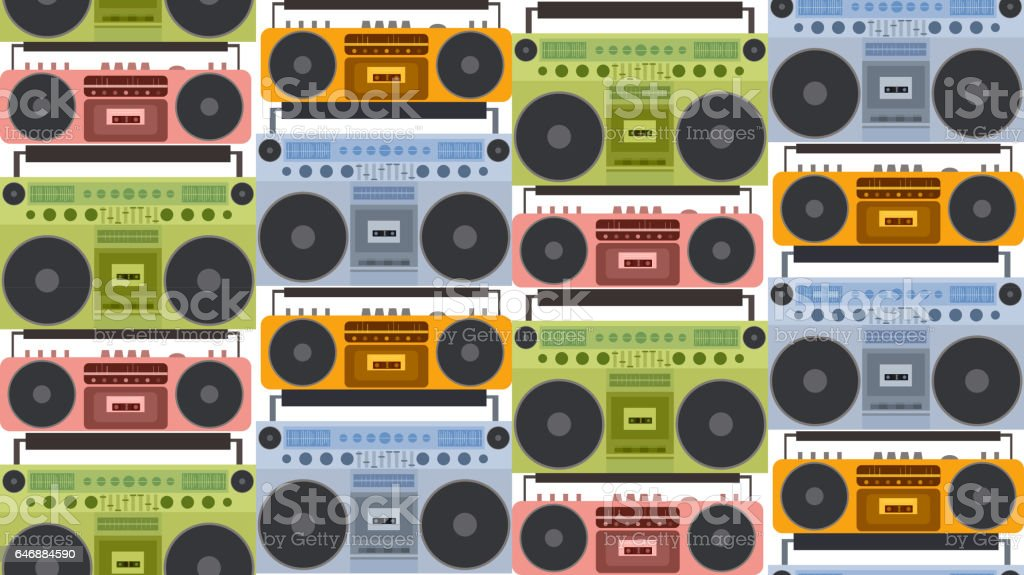 seamless texture with colored flat old tape recorder and boombox in
