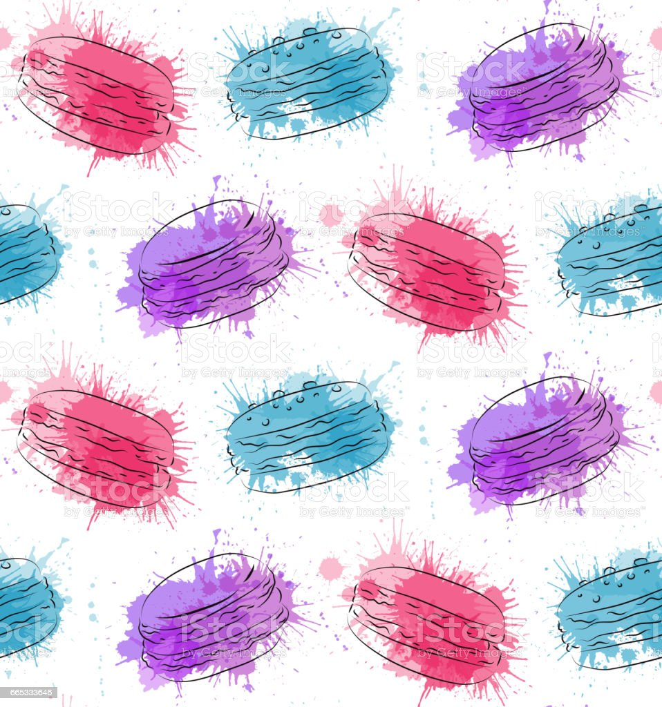 Seamless texture with contour drawing of macaroon and watercolor splashes. Vector baking pattern for wrapping paper, wallpaper and your creativity vector art illustration