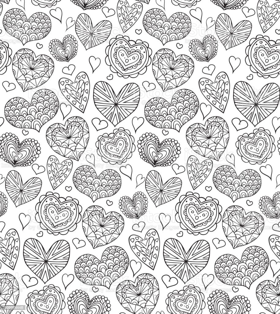 Seamless texture with contours of the doodle hearts vector art illustration