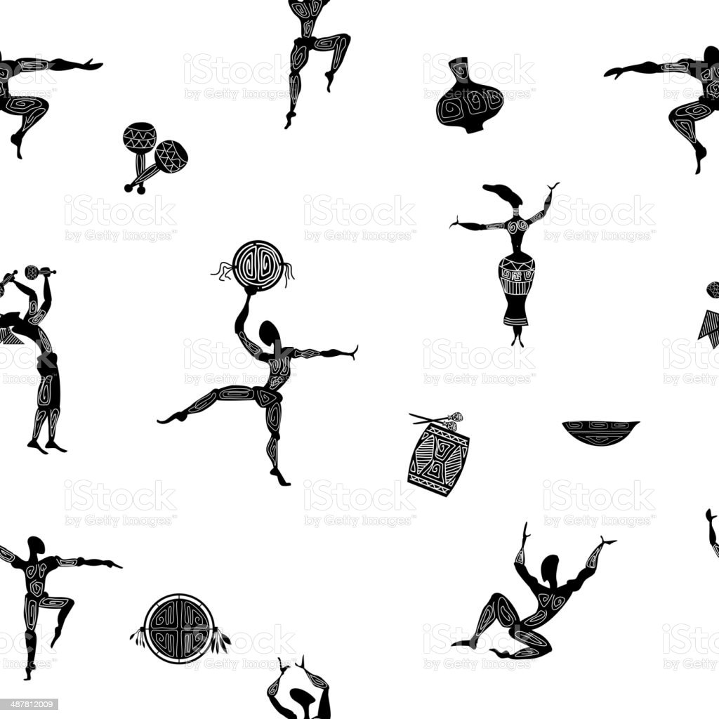 Seamless texture with figures of primitive people vector art illustration