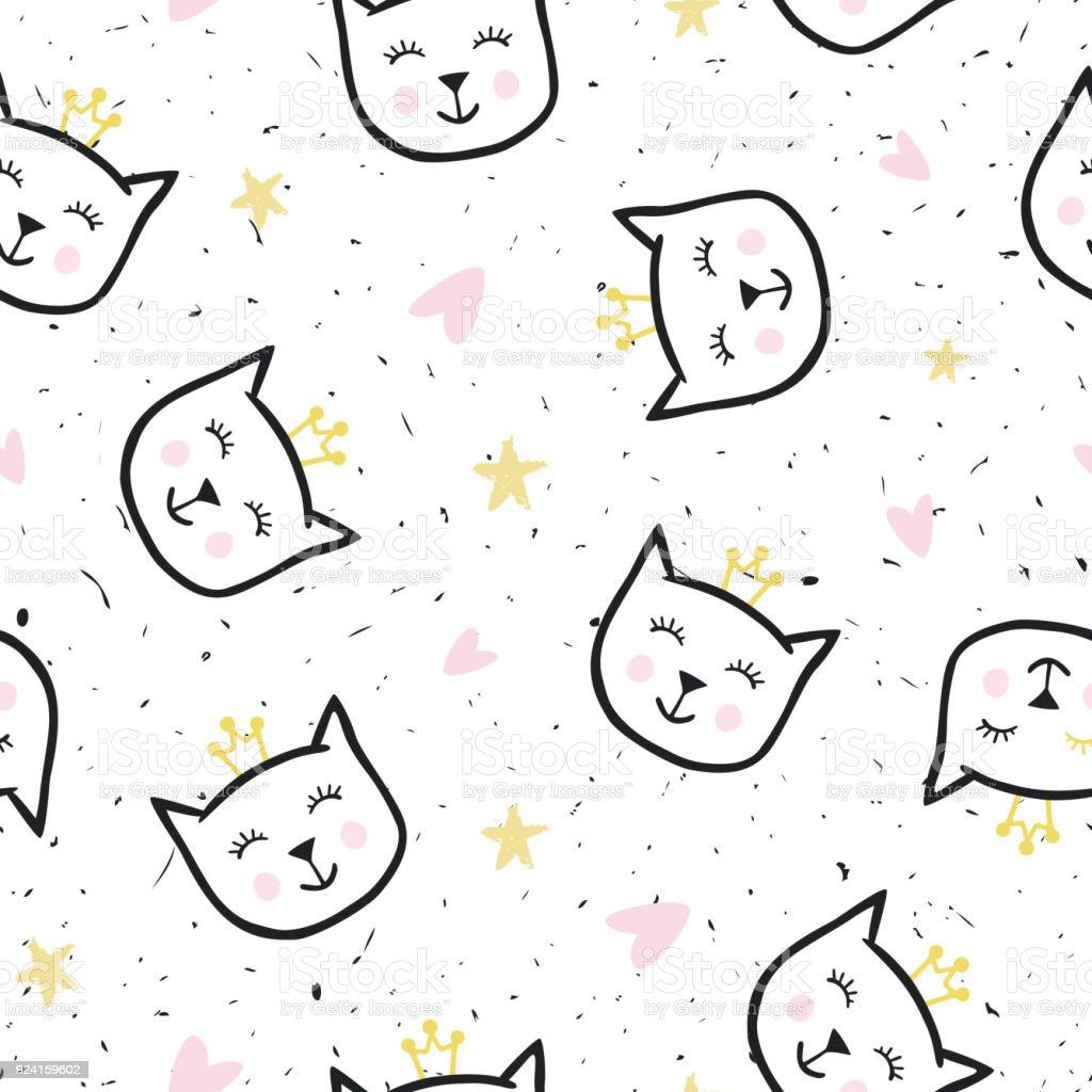 面白い可愛い猫とシームレスなテクスチャですお祭りの背景紙布に印刷
