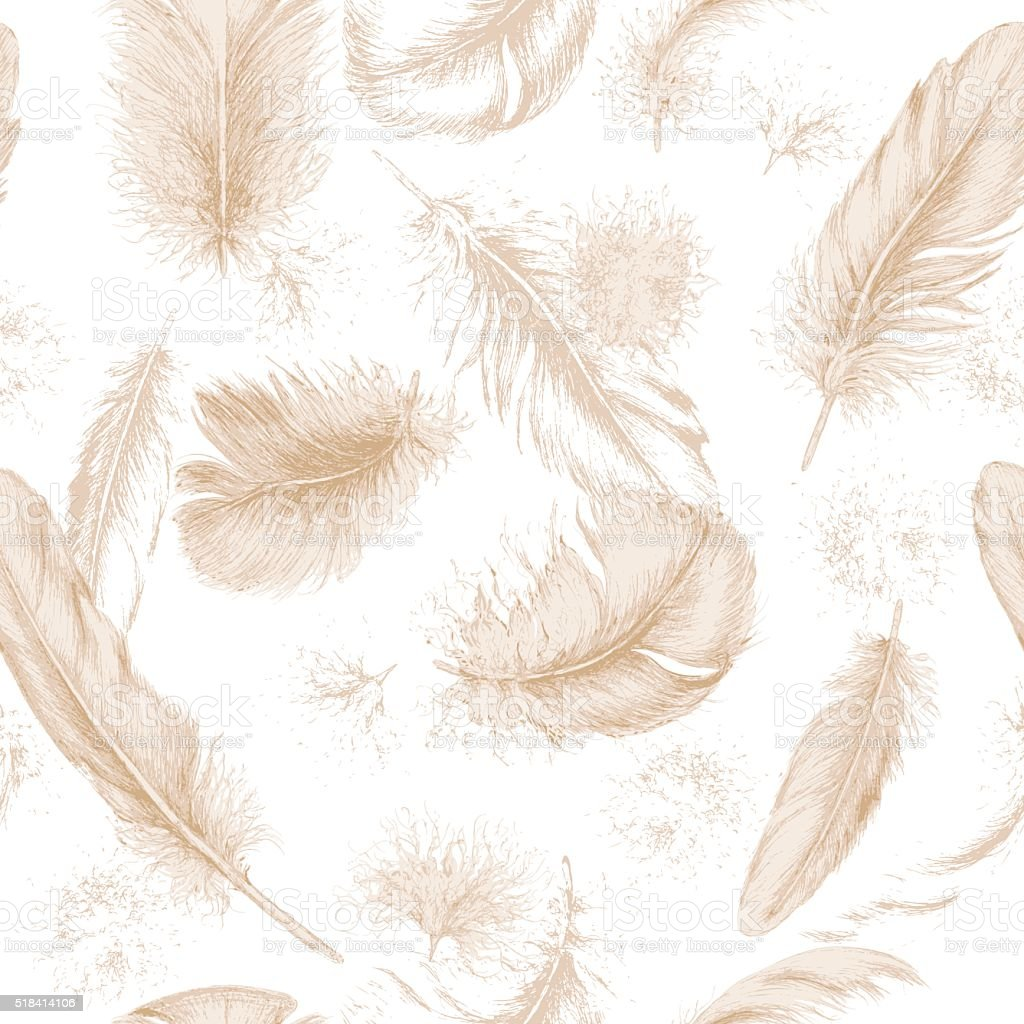 Textura sem costura com mão desenhada penas. - ilustração de arte em vetor