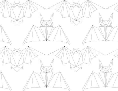 Seamless texture with outline poligonal bats in a row. Halloween holiday. Animal origami. Paper zoo. Vector line art pattern