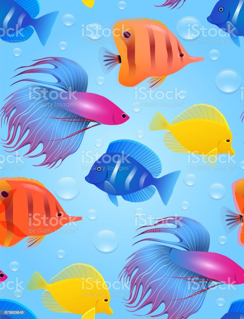 Seamless texture with sea tropical fish and bubbles. vector art illustration