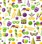 Seamless Texture with Set Carnival and Mardi Gras Icons  Objects