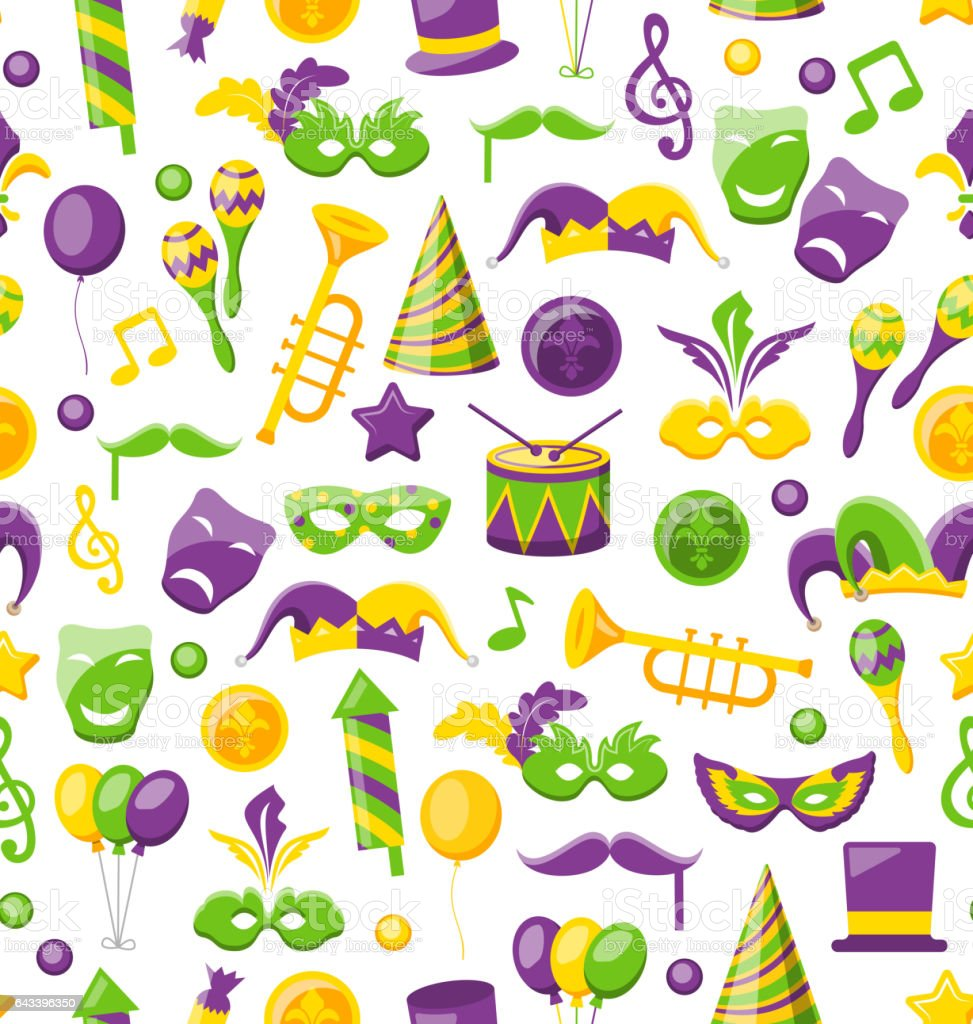 Seamless Texture with Set Carnival and Mardi Gras Icons  Objects vector art illustration