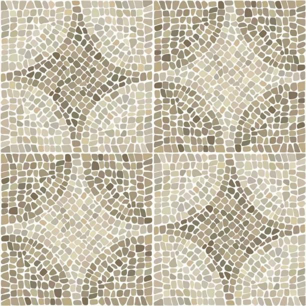 nahtlose textur mit steinen legen in curcular muster. - mosaikböden stock-grafiken, -clipart, -cartoons und -symbole