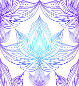 Seamless texture with the contours of the lotus with Boho pattern. Vector element for spa centers, yoga studios. Hand drawn. Doodle elements for your design