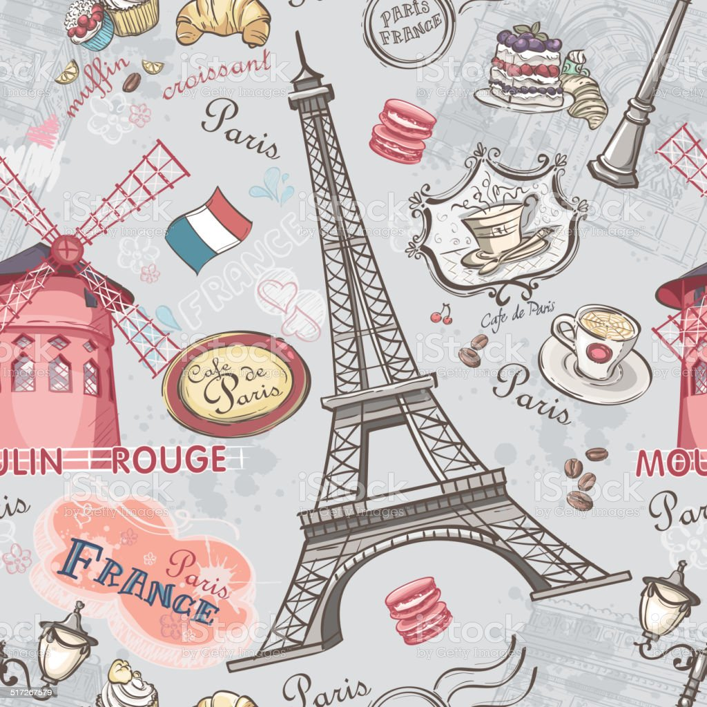 Seamless texture with the image of the sights of Paris vector art illustration