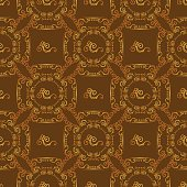 Seamless textures with hop floral ornament on brown background.