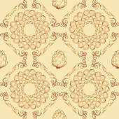 Seamless textures with hop floral ornament on light background.