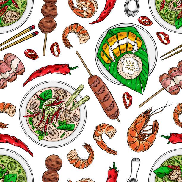 seamless thai cuisine - thai food stock illustrations, clip art, cartoons, & icons