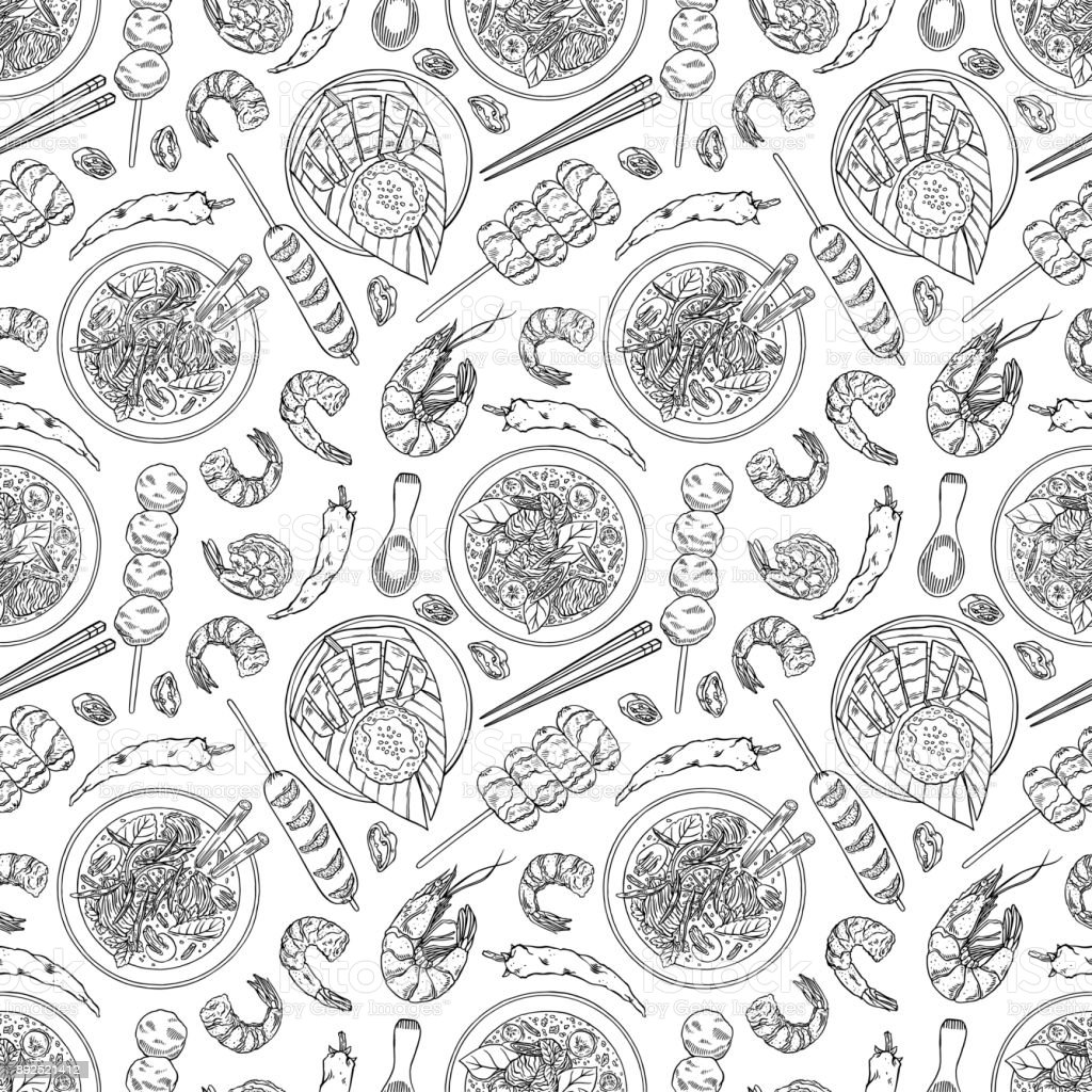 seamless thai cuisine vector art illustration
