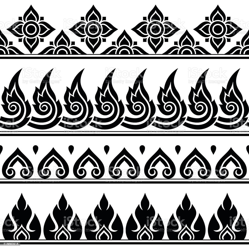 Seamless Thai pattern, repetitive design from Thailand vector art illustration