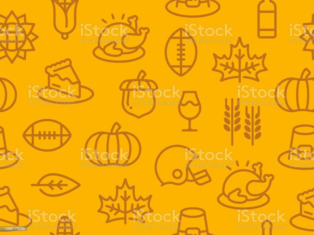 Seamless Thanksgiving Autumn Background vector art illustration