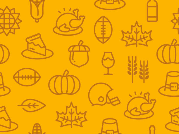 seamless thanksgiving autumn background - thanksgiving stock illustrations