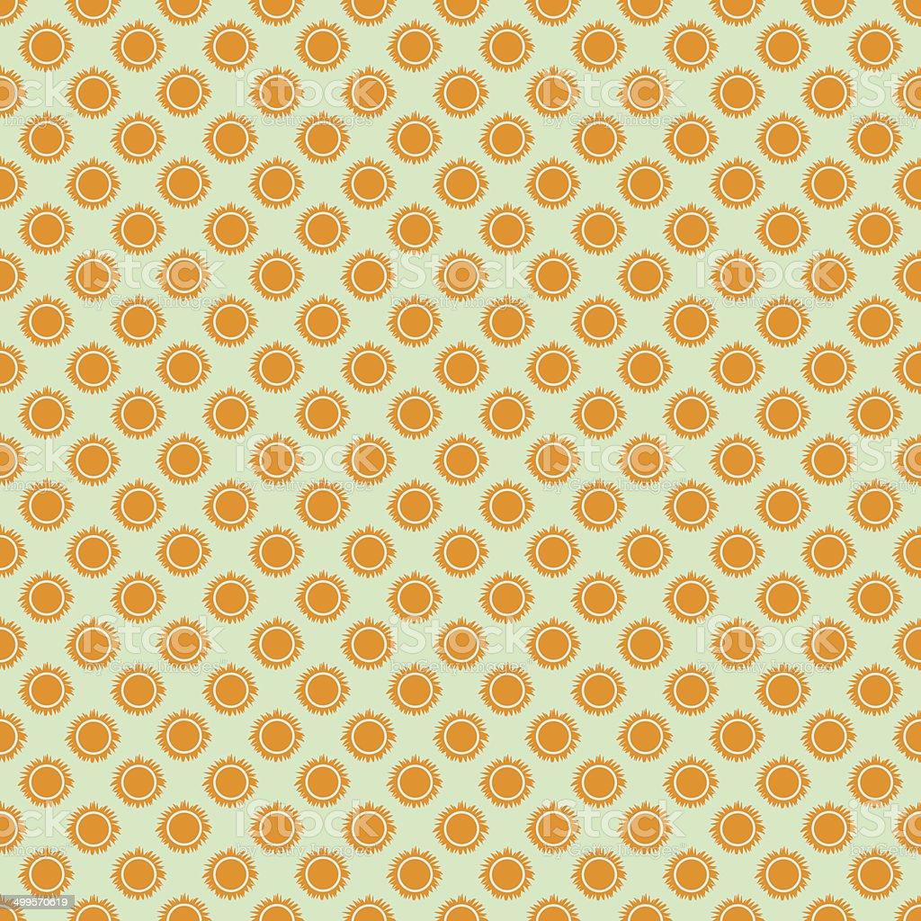 Seamless Pattern Di Sole Arancione Per Sfondo Verde Vettore