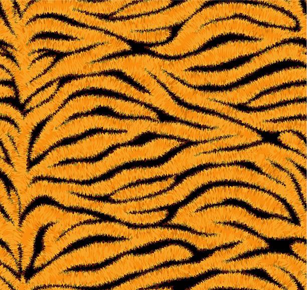 stockillustraties, clipart, cartoons en iconen met seamless tiger skin pattern - dierenhaar