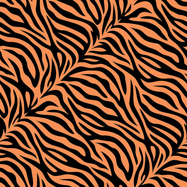 stockillustraties, clipart, cartoons en iconen met seamless tiger skin pattern - tijger