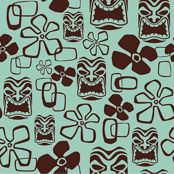 Seamless Tiki Mask Pattern vector art illustration