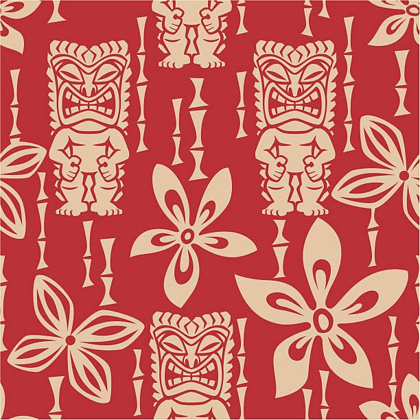 Seamless Tiki Tapa Pattern vector art illustration