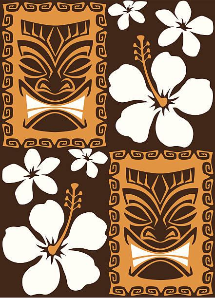 Seamless Tiki Tiles vector art illustration