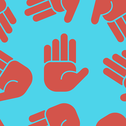 Seamless tile for pattern with hand palm shapes.