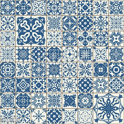 Seamless Tile Pattern Colorful Lisbon Mediterranean Floral