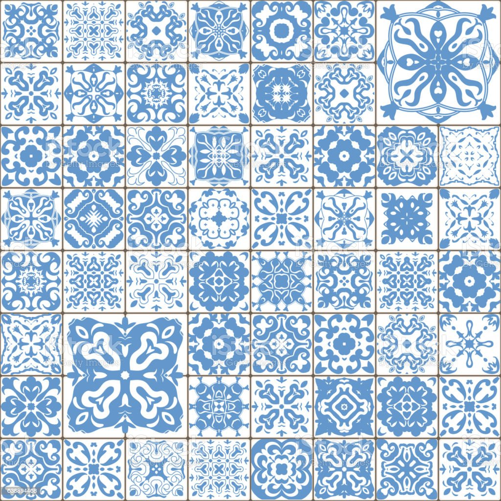 Seamless Tile Pattern Square Flower Blue Mosaic Vector Stock Vector ...