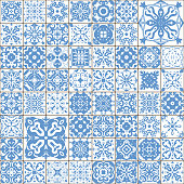 Gorgeous seamless patchwork pattern from dark blue and white Moroccan tiles, ornaments. Can be used for wallpaper, pattern fills, web page background,surface texturesLuxury oriental tile seamless pattern. Colorful floral patchwork background. Boho chic style. Rich flower ornament. Square design elements. Portuguese moroccan motif. Unusual flourish print.