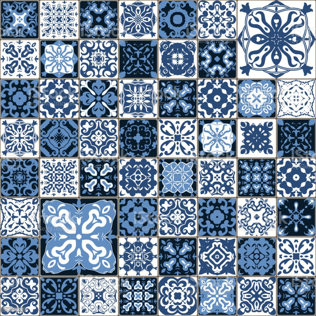 Seamless tile pattern. Square flower blue mosaic. vector. vector art illustration