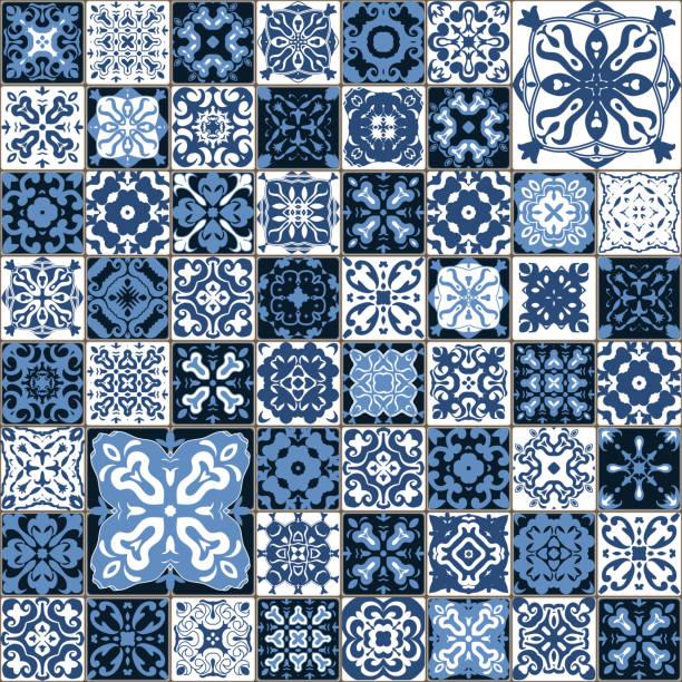 Seamless tile pattern. Square flower blue mosaic. vector. vector art illustration