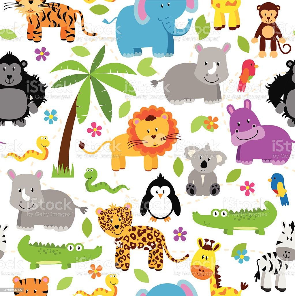 Seamless, Tileable Jungle or Zoo Animal Themed Background Patterns vector art illustration