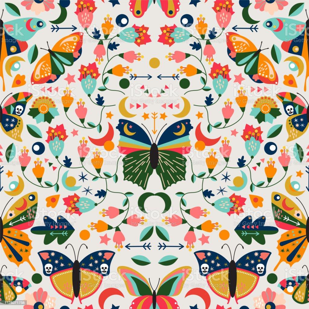 Seamless Tileable Wallpaper Pattern With Boho Style Butterflies