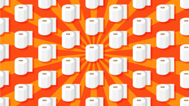 illustrazioni stock, clip art, cartoni animati e icone di tendenza di seamless toilet paper pattern - carta igienica