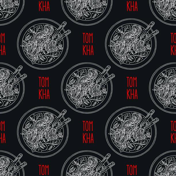 seamless tom kha soup - thai food stock illustrations, clip art, cartoons, & icons