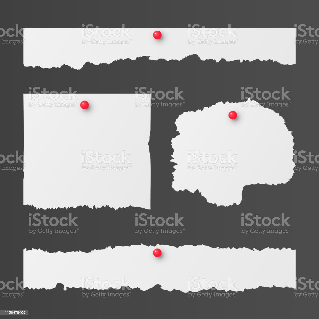 Set of torn paper sheets with ripped edges. Vector templates for...