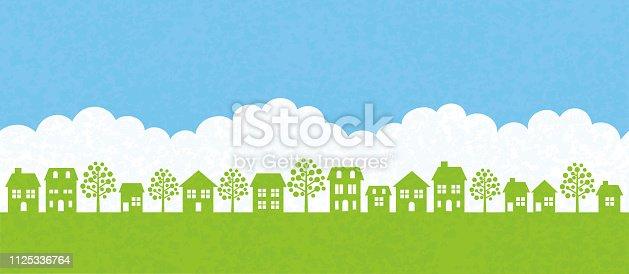 Seamless townscape vector illustration. Horizontally repeatable.