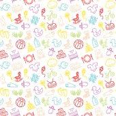 Kids icon seamless background pattern.