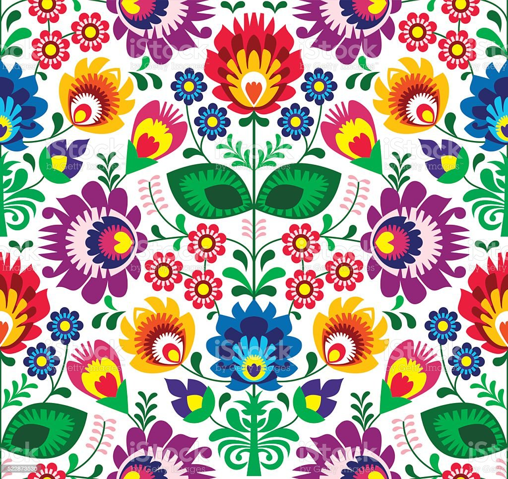 Seamless traditional floral Polish folk art pattern vector art illustration