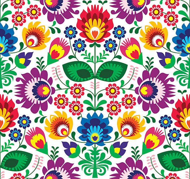 Sem costura arte folclórica tradicional padrão floral de esmalte - ilustração de arte em vetor