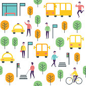 Seamless transport pattern. Vector people and vechicles