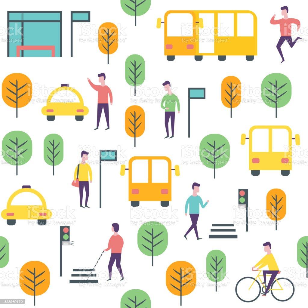 Modèle de transport sans soudure. Véhicules récréatifs et les gens de vecteur - Illustration vectorielle