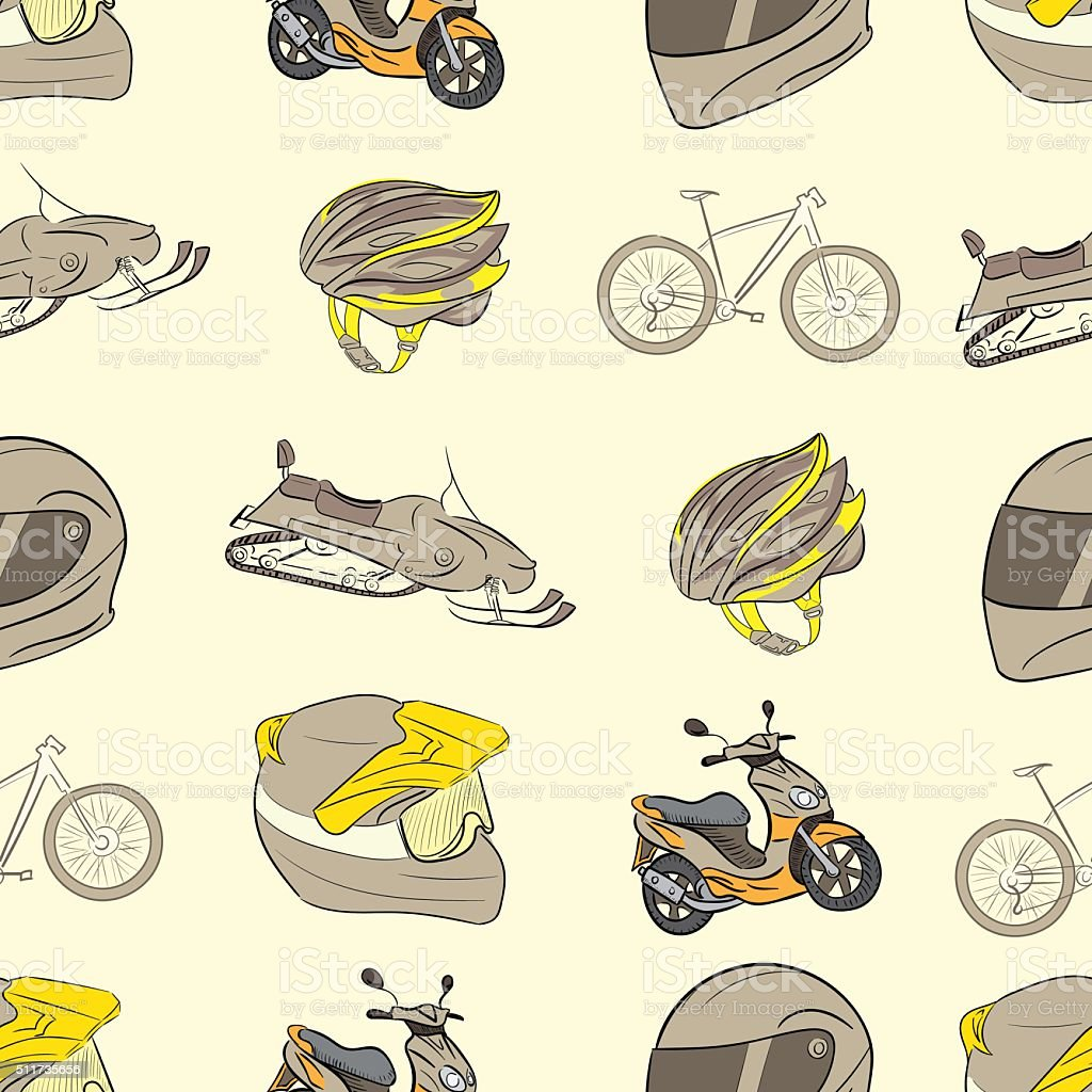Seamless transport with helmets vector art illustration